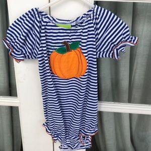 Classic whimsy royal blue striped pumpkin bubble